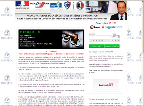 Virus interpol avec photo de François Hollande